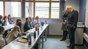Prime Minister Boris Johnson visits a Year 7 class at Castle Rock School in Coalville, Leicestershire (Jack Hill/The Times/PA)
