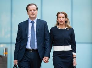 Charlie Elphicke and Natalie Elphicke arriving at Southwark Crown Court the day before he was convicted of sexual assaults (Dominic Lipinski/PA)