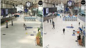 The concourse of London's Waterloo station at noon today (right) and 50 days ago (PA)