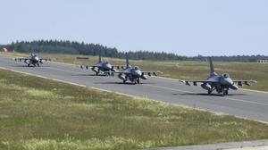 F-16 fighter jets taking off from Spangdahlem Air Base in Germany (US Air Force/PA)