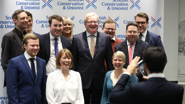 Jackson Carlaw, centre, has announced new appointments to the Tory team (Andrew Milligan/PA)