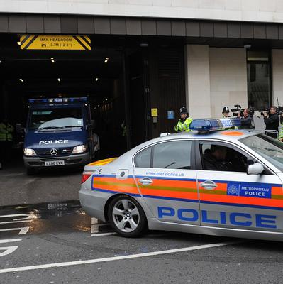 The van believed to carrying Michael Adebowale leaves Westminster Magistrates' Court in London following his appearance