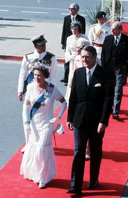 Queen Elizabeth II, accompanied by Australian Prime Minister Malcolm Fraser, followed by the Duke of Edinburgh and Mrs Fraser, when they arrived for the State Opening of Parliament in Canberra (Ron Bell/PA)