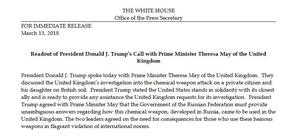 Statement from The White House about US President Donald Trump's discussion with Prime Minister Theresa May about the attack in Salisbury