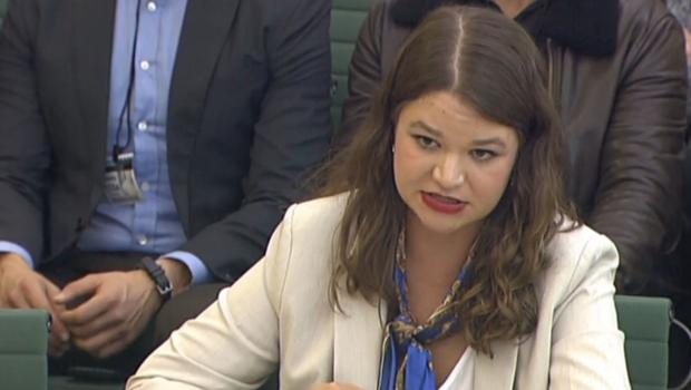 Brittany Kaiser giving evidence at the Commons (PA)