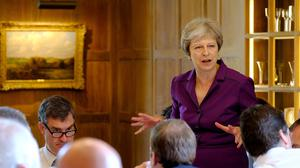 Theresa May speaks during a cabinet meeting at Chequers (Joel Rouse/Crown Copyright/PA)