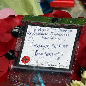A floral tribute outside the Royal Artillery Barracks in Woolwich (PA)