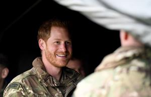 The Duke of Sussex during a visit to 42 Commando Royal Marines at their base in Bickleigh (Finnbarr Webster/PA)
