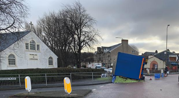 A trailer carrying BrusselsSprouts overturned in Fife (SouthWestFifePolice/PA)