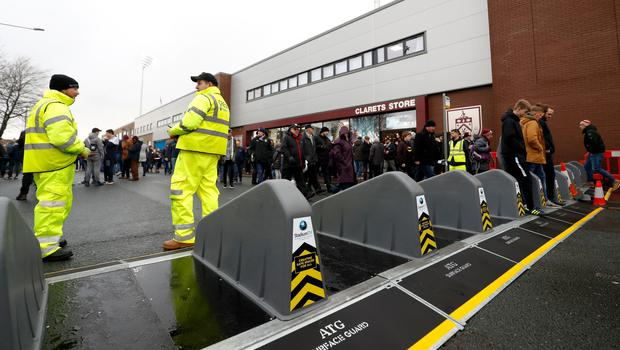 ATG Access Bollards outside the ground ahead of a Premier League match at Turf Moor, Burnley (PA)