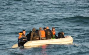 A migrant boat in the English Channel (Maritime Prefecture of the Channel and the North Sea)