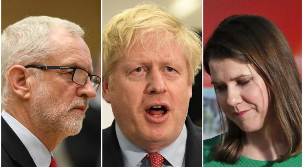 Jeremy Corbyn, Boris Johnson and Jo Swinson (PA)