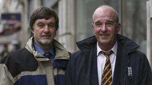 Umpires Peter Willey (left) and George Sharp challenged the ECB's decision to retire them because of their age