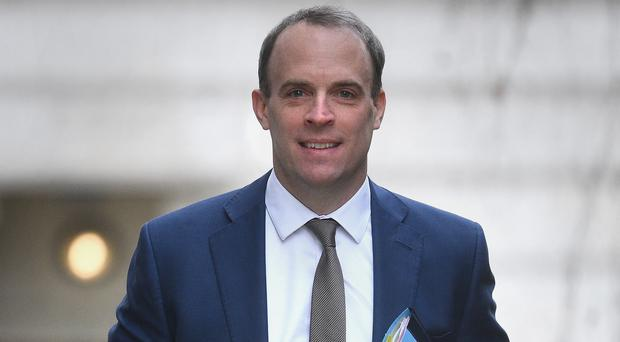 Foreign Secretary Dominic Raab arrives in Downing Street (Kirsty O'Connor/PA)