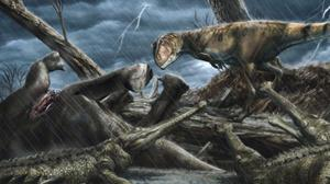 An artist's impression of the Sahara 100 million years ago (University of Portsmouth/PA)