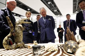 The Prince of Wales is shown items of luggage that have been confiscated during inspections by customs officers during a visit to Heathrow Airport (Chris Jackson/PA)