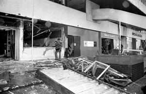 The aftermath of the blast at the Mulberry Bush, which was on the ground floor of the Rotunda (PA)