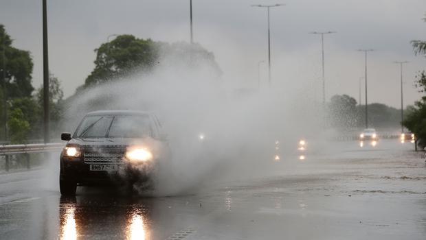 Standing water on the M42 near Birmingham after heavy rain on Sunday (David Davies/PA)