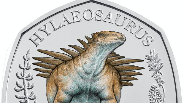 A commemorative 50 pence coin from the Dinosauria Collection which shows a hylaeosaurus (The Royal Mint/PA)
