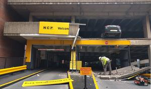 A car park in Nottingham after a wall collapsed (Alex Britton/PA)