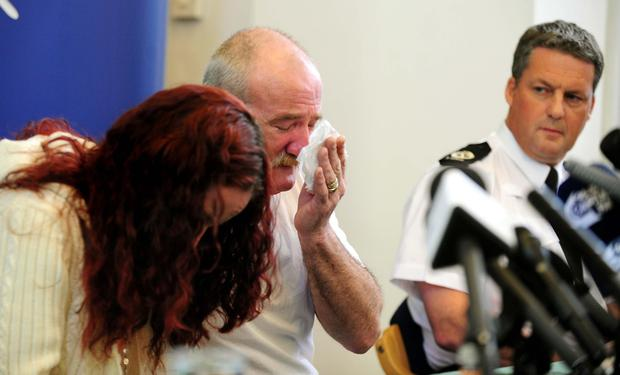 Mairead beside Mick Philpott at a press conference days after the fire (Rui Vieira/PA)