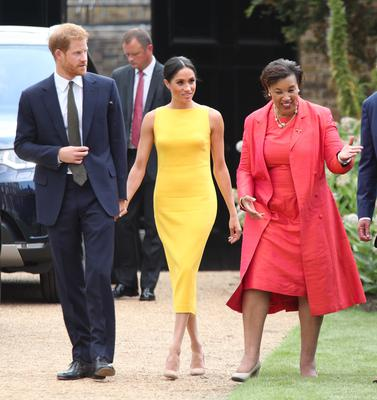 The Duke and Duchess of Sussex, with Baroness Scotland, arrive to attend the Your Commonwealth Youth Challenge reception at Marlborough House in London (Yui Mok/PA)