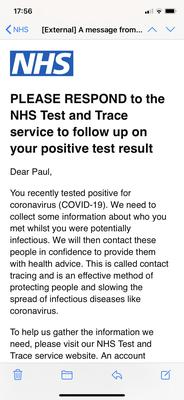 A message from NHS Test and Trace (Test and Trace service/PA)