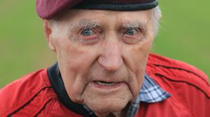 Veteran Jock Hutton after taking part in a commemorative parachute descent over Sannerville, France, during commemorations for the 75th anniversary of the D-Day landings (Gareth Fuller/PA)