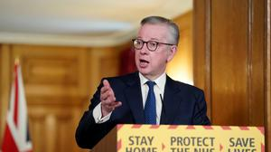 Chancellor of the Duchy of Lancaster Michael Gove gave the daily briefing (Pippa Fowles/10 Downing Street/Crown Copyright/PA)