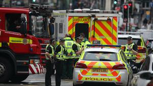 Emergency services at the scene in West George Street (Andrew Milligan/PA)