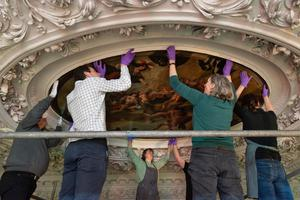 Conservation staff with the ceiling art (Royal Collection Trust/ Her Majesty Queen Elizabeth II 2020/PA)