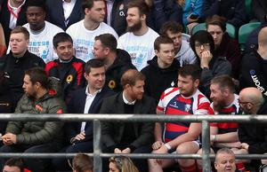 Grandstand view for Prince Harry as the England squad go through their paces at Twickenham (Adam Davy/PA)