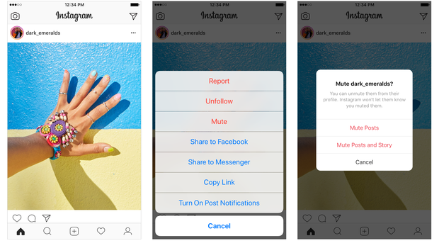 Instagram will bring in a mute button so users can hide posts from certain accounts from their feed without unfollowing them (Instagram)