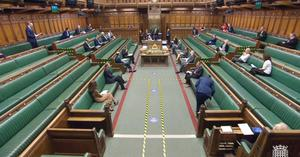 Social distancing measures have kept the number of MPs who can sit in the Commons at one time limited, but it was a busier chamber at noon on Thursday during business questions after the Conservatives ended remote voting… (House of Commons/PA)