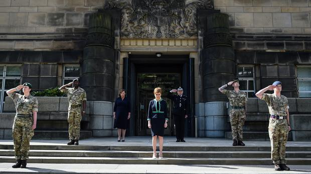 The First Minister marked VE Day by joining a two-minute silence on the steps of St Andrew's House (Andy Buchanan/PA)