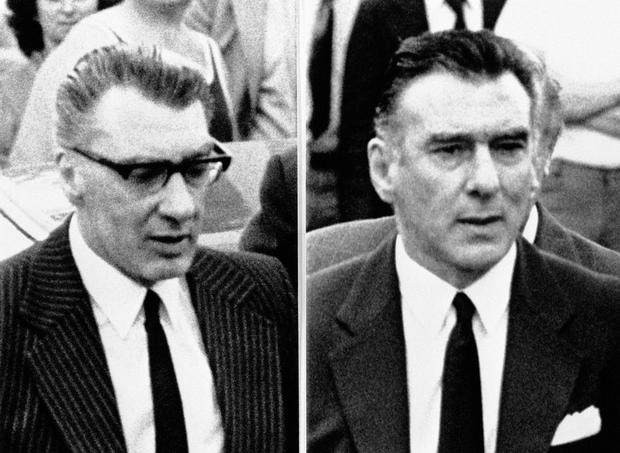 The Kray twins Ronnie (left) and Reggie were both given life prison sentences for murder in 1969. (PA Archive Images)
