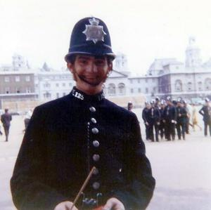 PC Mick Mountain at Horse Guards Parade during Trooping the Colour in 1972
