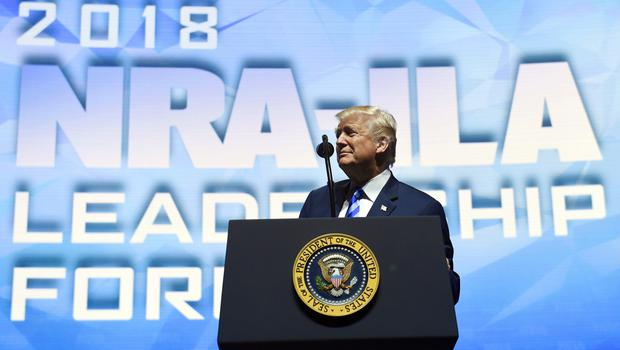 President Donald Trump speaks at the National Rifle Association's annual convention in Dallas (Susan Walsh/AP)