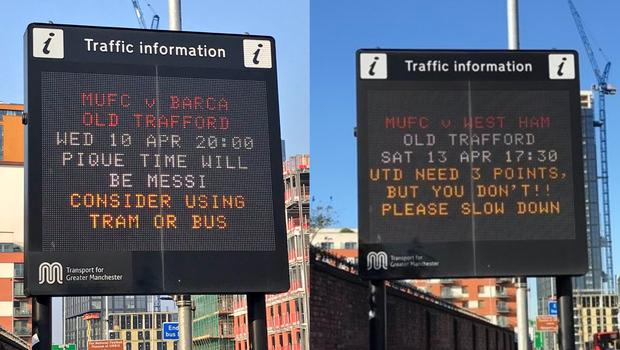 Two traffic signs from Rochdale Road, Manchester (Pictures courtesy of @AdrianBentley and @DanTheCool/PA)