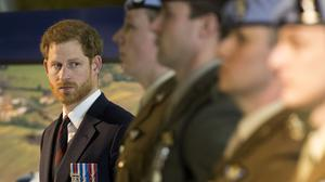 Prince Harry during a visit to the Army Aviation Centre in Middle Wallop, Hampshire to present the latest graduates with their Wings (Daily Telegraph/PA)