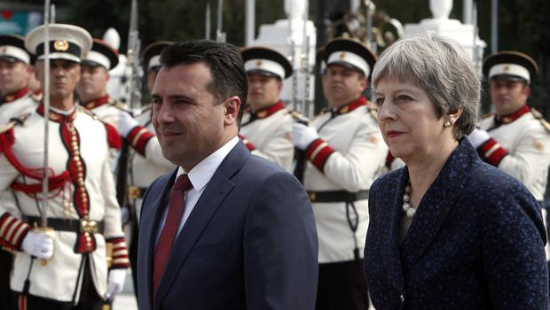 Theresa May and Zoran Zaev in Skopje (Boris Grdanoski/AP)