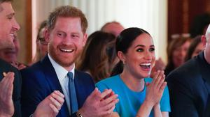 The Duke and Duchess of Sussex cheer a marriage proposal at the Endeavour Fund Awards at Mansion House in the City of London (Paul Edwards/The Sun/PA)