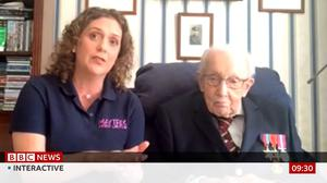 Hannah Ingram-Moore with her father Captain Tom Moore (BBC screengrab/PA)