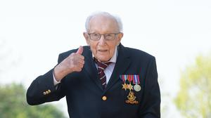 99-year-old war veteran Captain Tom Moore after he achieved his goal of 100 laps of his garden (Joe Giddens/PA)