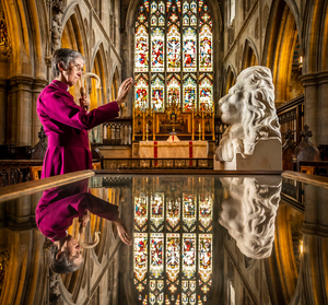 The Bishop of Hull Alison White during a photocall as she blesses a statue of Aslan, a character from the Chronicles of Narnia by CS Lewis, at St Mary's Church in Beverley, East Yorkshire