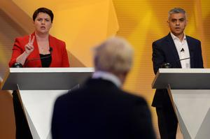 The then Scottish Conservative leader joined forces with Sadiq Khan to take on Boris Johnson in a TV debate ahead of the Brexit referendum. (Stefan Rousseau/PA )