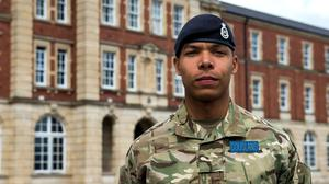Sword of honour winner Kidane Cousland at the Royal Military Academy Sandhurst