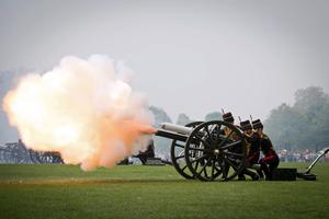 The King's Troop Royal Horse Artillery fires a 41-gun royal salute to mark the Queen's 93rd birthday in Hyde Park, London, last April – there will be no gun salutes this year because of the coronavirus pandemic lockdown (Stefan Rousseau/PA)