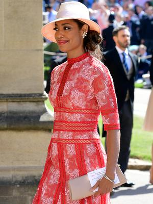 Gina Torres arrives at St George's Chapel at Windsor Castle for the wedding of Meghan Markle and Prince Harry. (Ian West/PA)