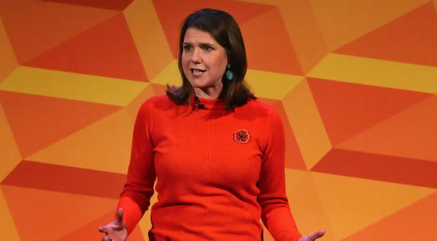 Liberal Democrats leader Jo Swinson makes a speech at a rally at the Battersea Arts Centre (PA)